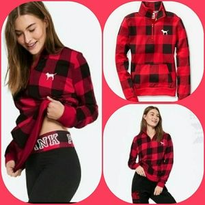 NWOT VS Pink Plaid Half Zip Pullover